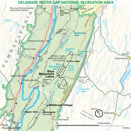 delaware water gap national recreation area map Blue Mountain Lakes In The Delaware Water Gap National Recreation Area delaware water gap national recreation area map